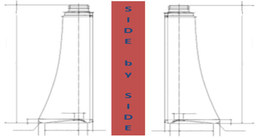 drawing of side by side comparison of PET bottles